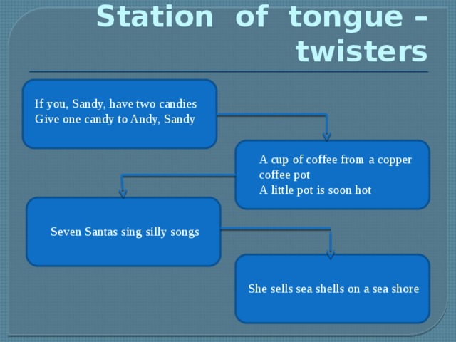 Station of tongue –twisters If you, Sandy, have two candies Give one candy to Andy, Sandy A cup of coffee from a copper coffee pot A little pot is soon hot  Seven Santas sing silly songs She sells sea shells on a sea shore